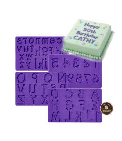 stampo in silicone wilton lettere e numeri- 4 pezzi