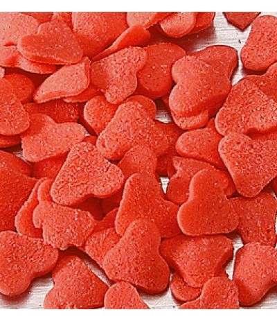 cuori rossi di zucchero da conspargere