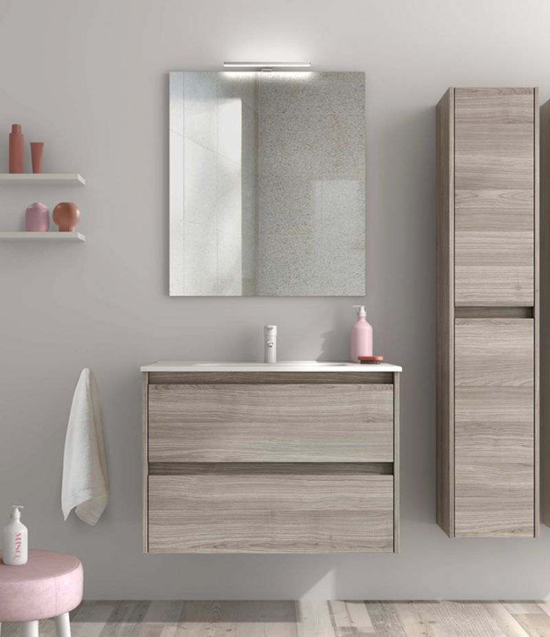 Mobile bagno 80 cm grigio sabbiato SANSA con specchio, LED e lavabo