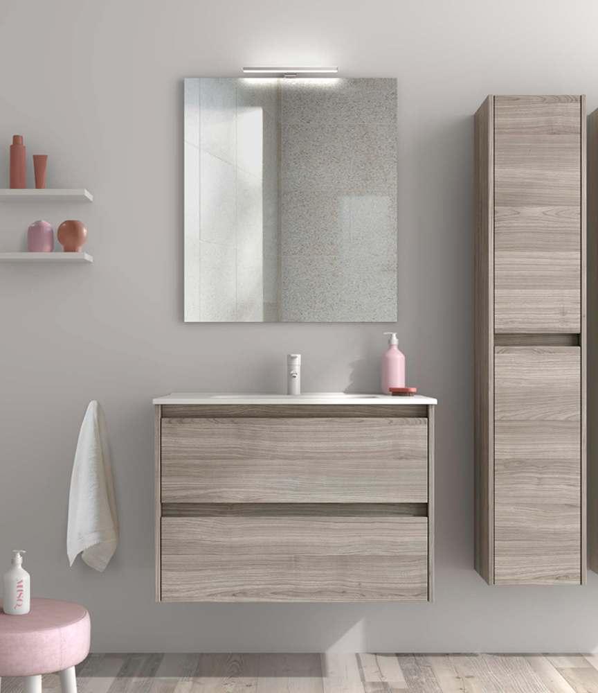 Mobile Bagno 80 Cm Grigio Sabbiato Sansa Con Specchio Led E Lavabo Zulli Ceramiche Shop