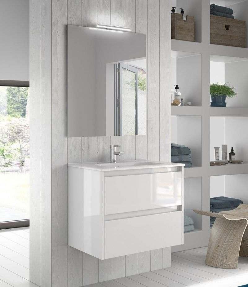 Mobile bagno 80 cm bianco lucido SANSA con specchio, LED e lavabo