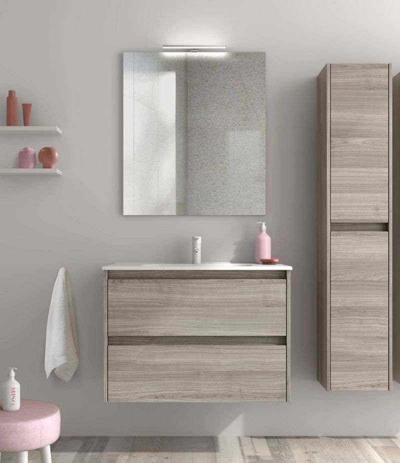 Mobile bagno 100 cm grigio sabbiato SANSA con specchio, LED e lavabo