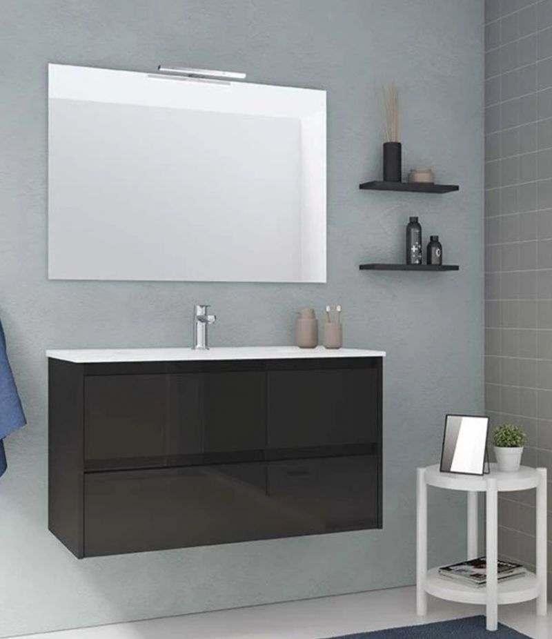 Mobile bagno 100 cm grigio antracite SANSA con specchio, LED e lavabo