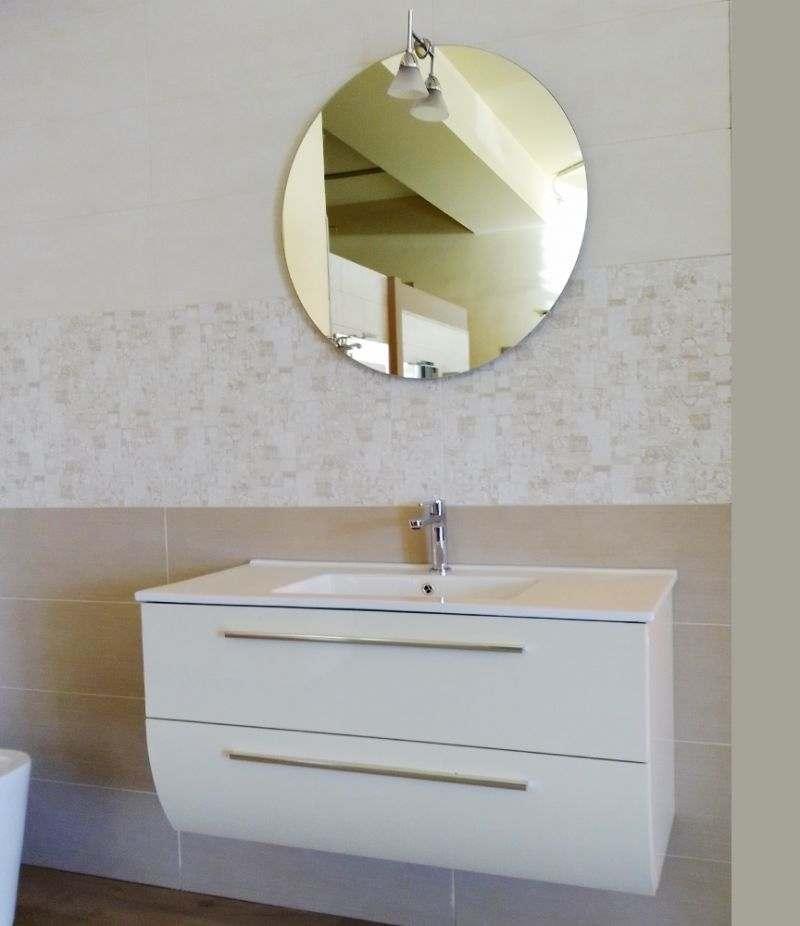 Mobile bagno 100 cm Mimosa Magnolia bianco laccato con specchio tondo