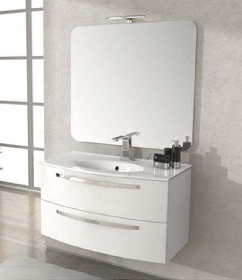 Mobile bagno Stella 100 cm bianco lucido con lavabo, specchio e lampada