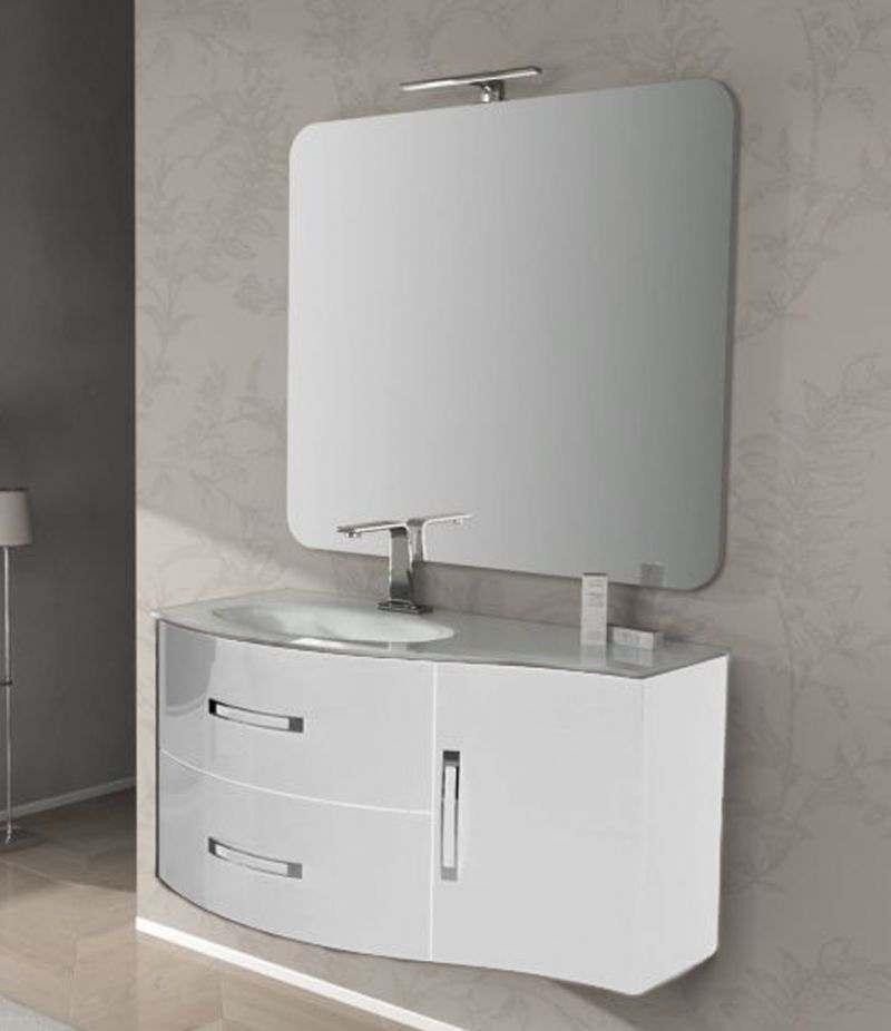 Mobile bagno Best 103 cm bianco lucido con lavabo, specchio e lampada