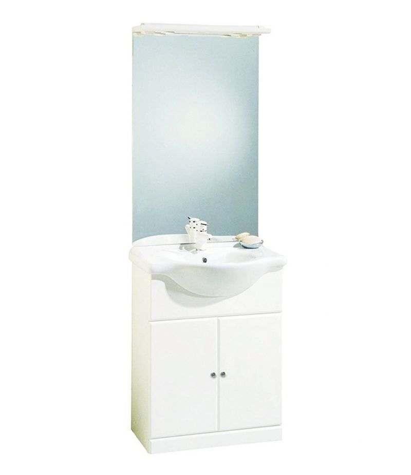 Mobile bagno LEO 65 cm con lavabo, specchio e lampada