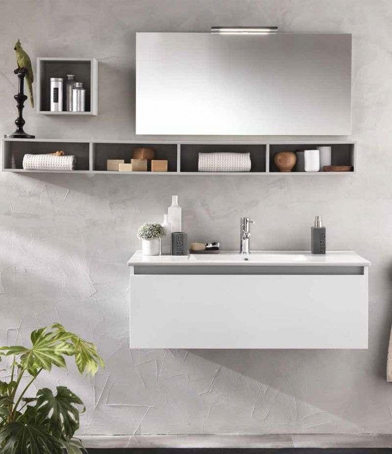 Mobile bagno IBIZA 100 cm laccato bianco opaco, con lavabo, specchio e lampada