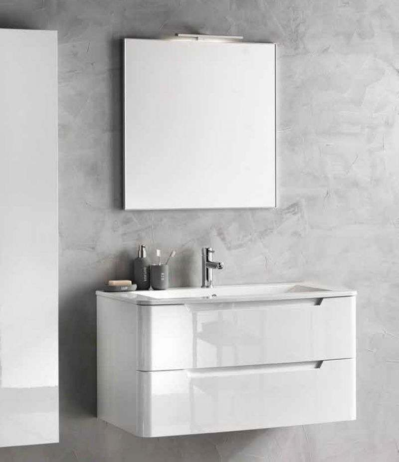 Mobile bagno PALMA 95 cm laccato bianco lucido, con lavabo, specchio e lampada