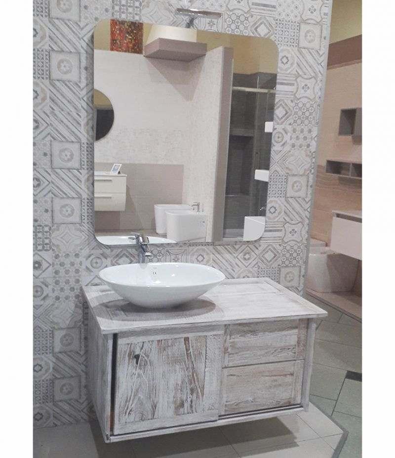 Mobile bagno Vecchie Travi 100 cm bianco, con lavabo, specchio e lampada