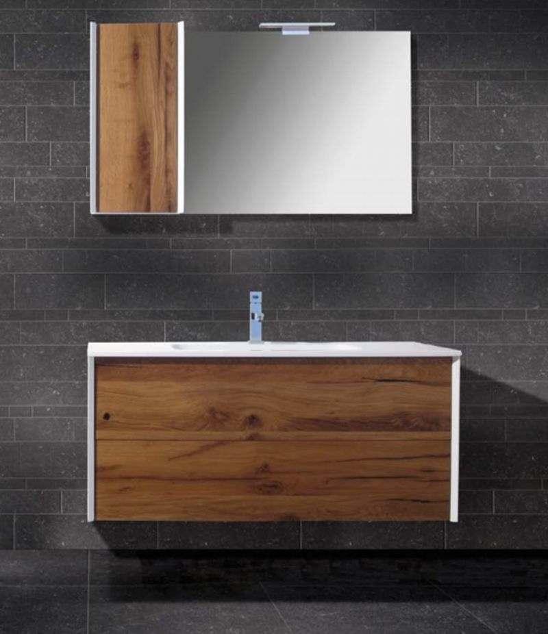 Mobile bagno 45 gradi Moderna 90 cm rovere nodi con lavabo, specchio e lampada