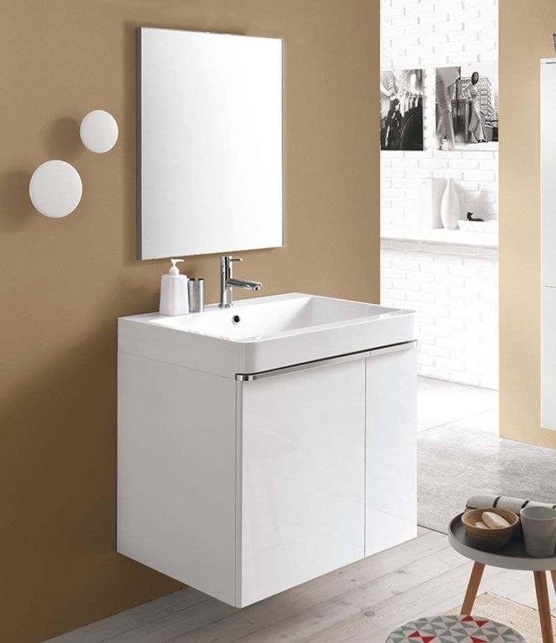 Mobile bagno Round bianco 75 cm lavatoio e specchio