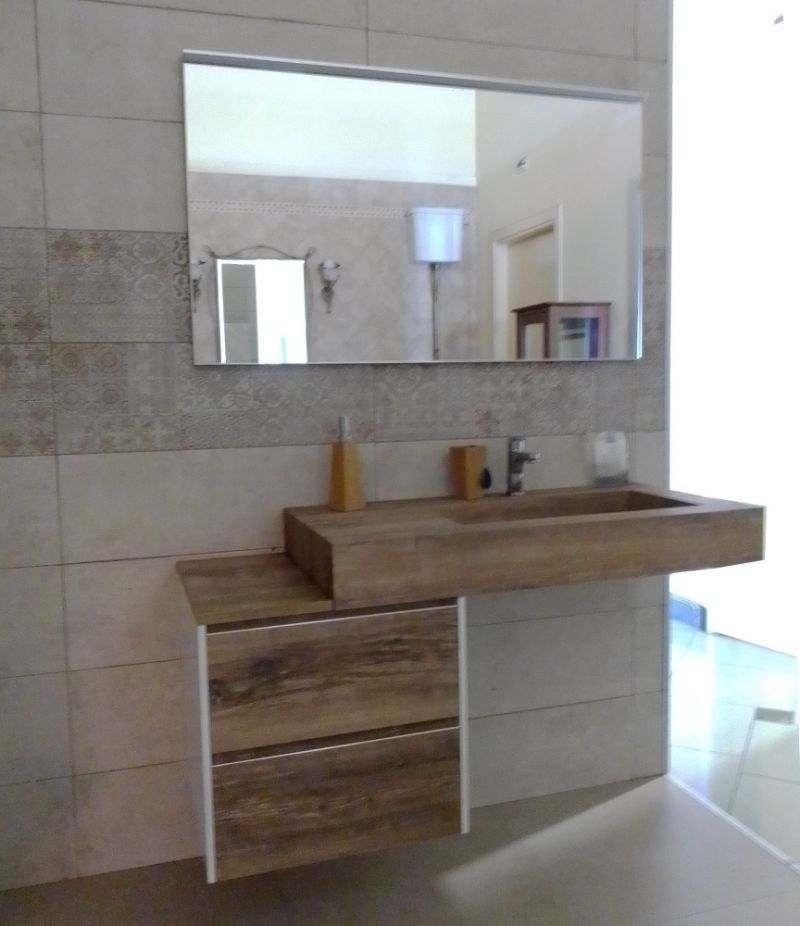 Mobile bagno Change 120 cm rovere slavonia e bianco con specchio e lampada LED