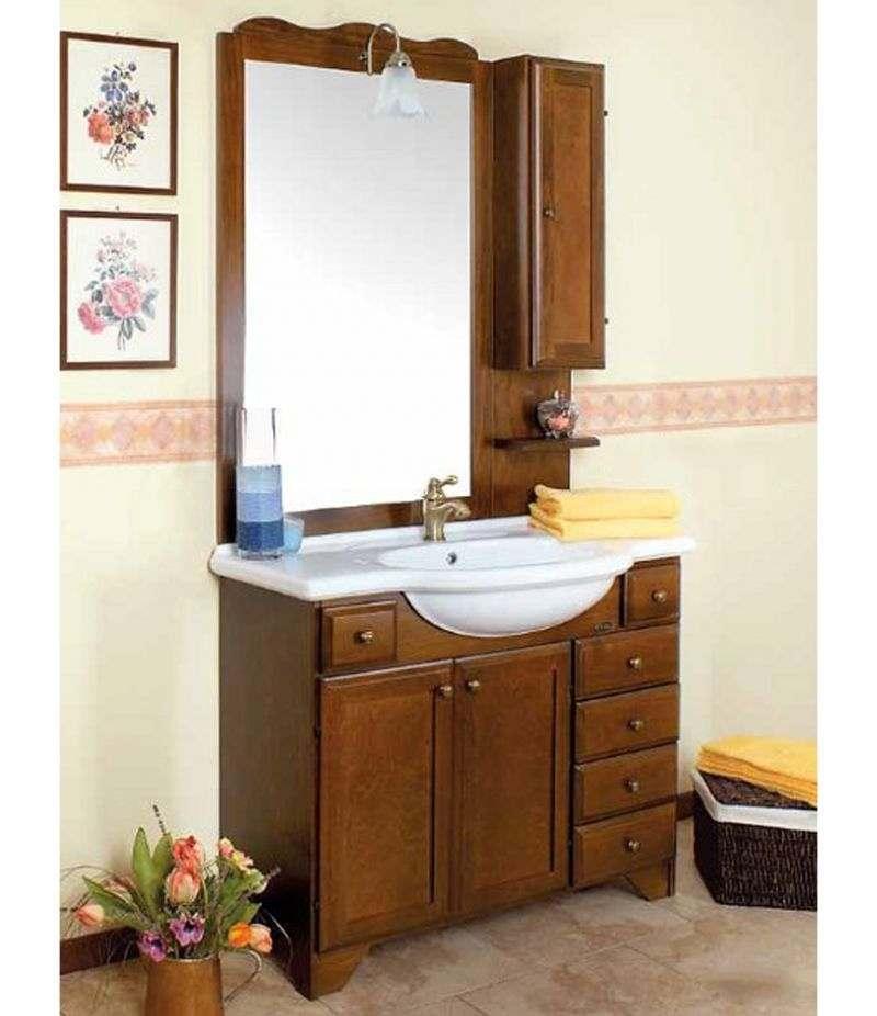 Mobile bagno ALBA 105 cm ciliegio con lavabo e specchio