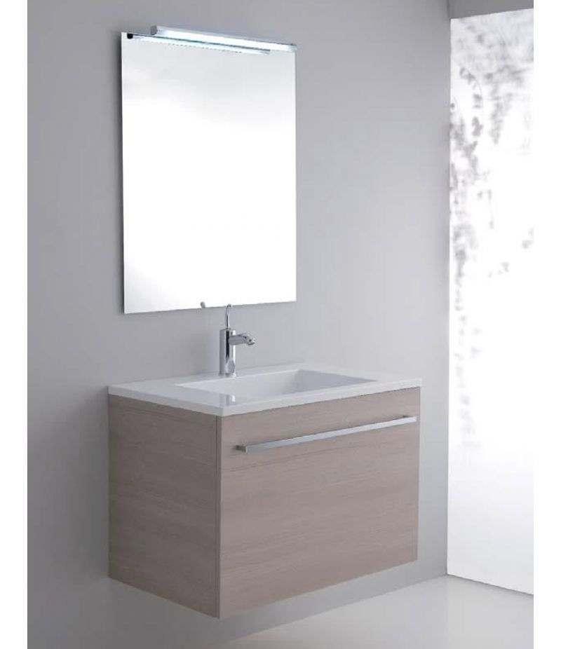 Mobile bagno ZEUS 80 cm beige con lavabo, specchio e lampada
