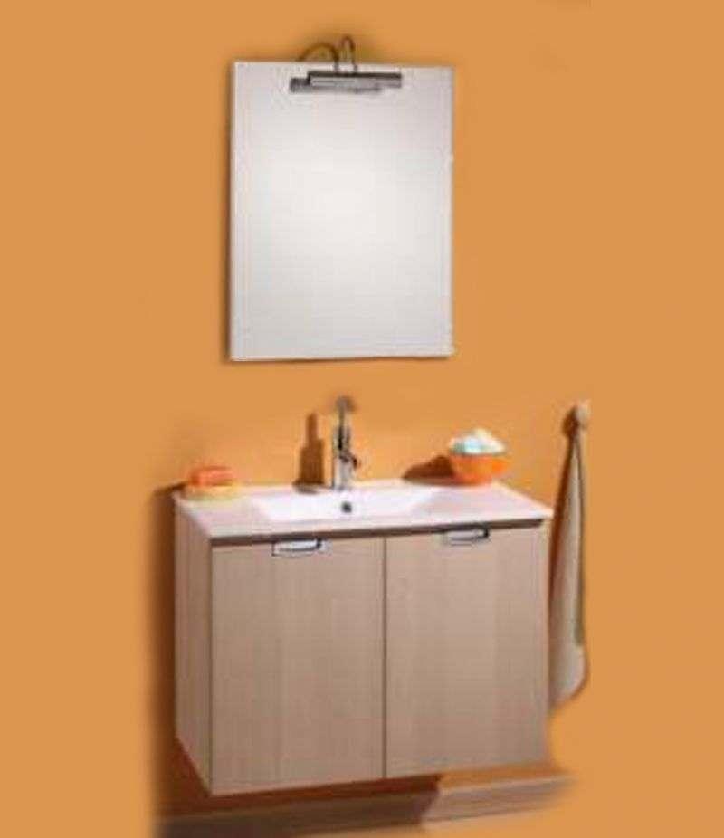 Mobile bagno SLIM 75 cm rovere con lavabo, specchio e lampada