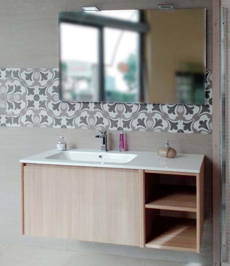 Mobile bagno serie UP 120 cm rovere segato con top, specchio e lampada