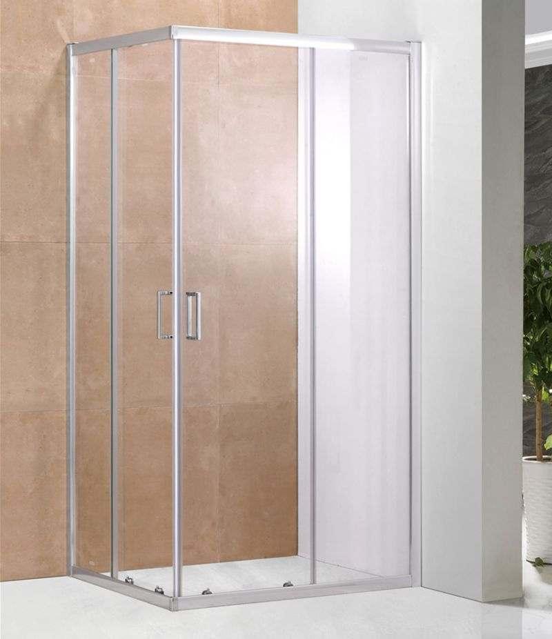 Box doccia 80x100 cm scorrevole in cristallo trasparente 6 mm profili alluminio cromato