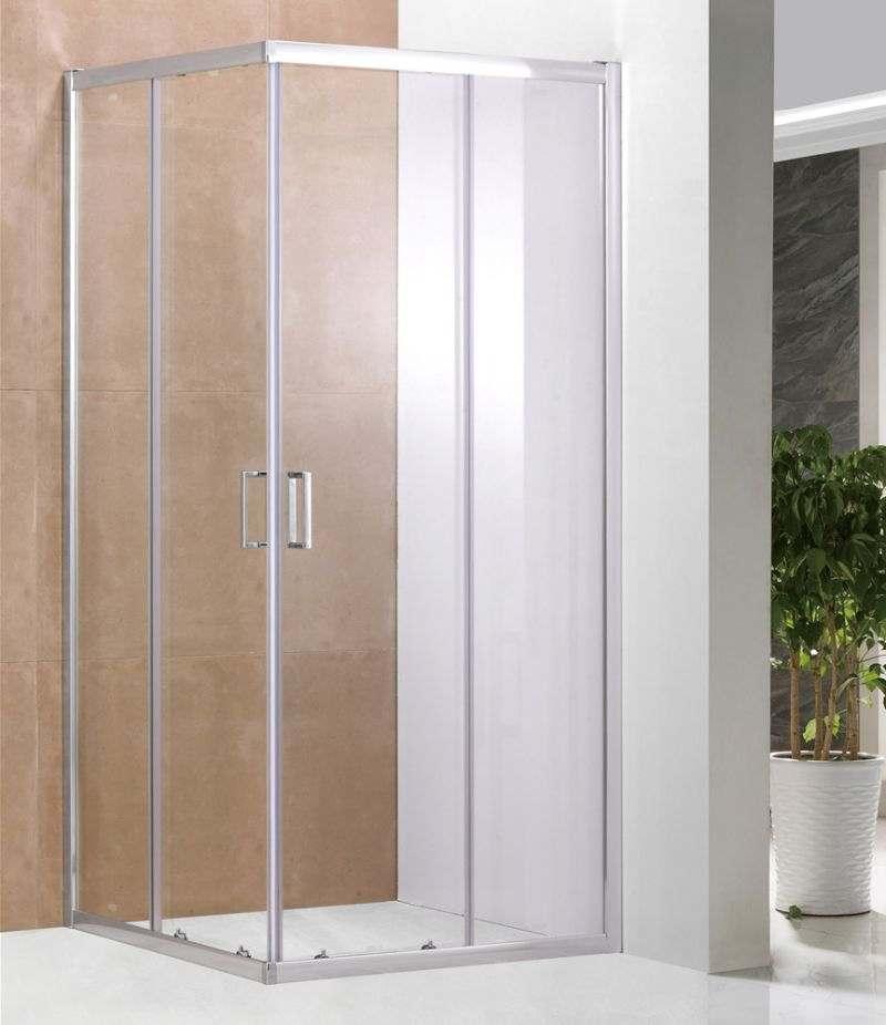 Box doccia 80x80 cm scorrevole in cristallo trasparente 6 mm profili alluminio cromato