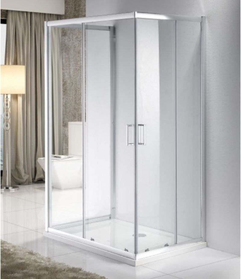 Box doccia 3 lati 80x100x80 cm scorrevole in cristallo trasparente 6 mm profili alluminio cromato