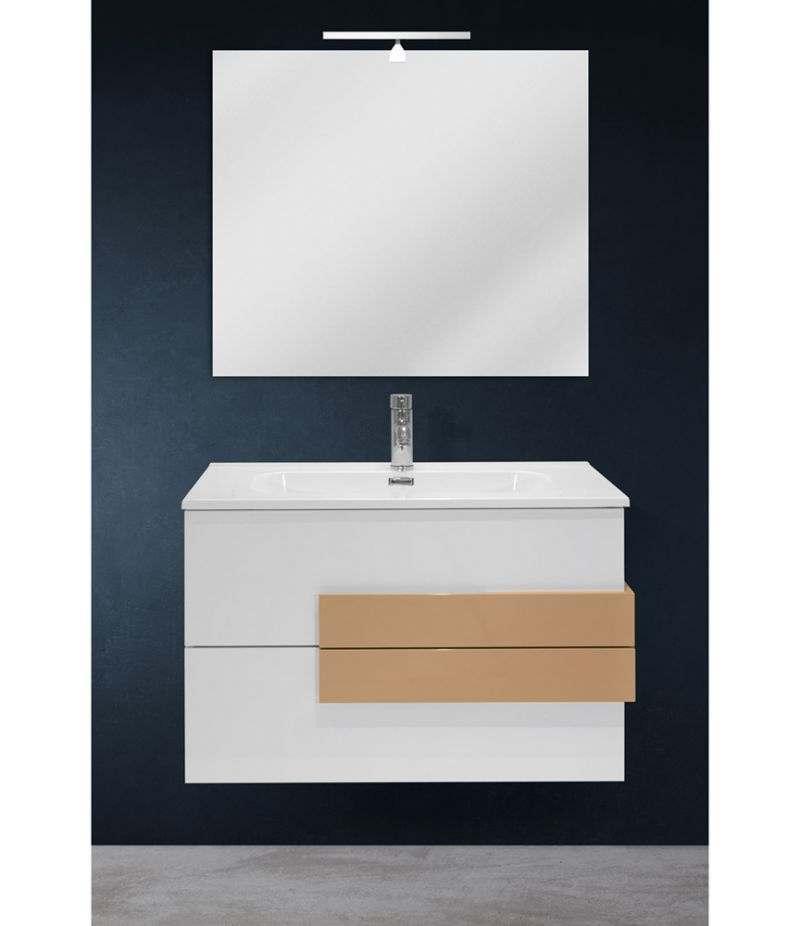 Mobile bagno sospeso 80 cm Bianco lucido con specchio, LED e lavabo