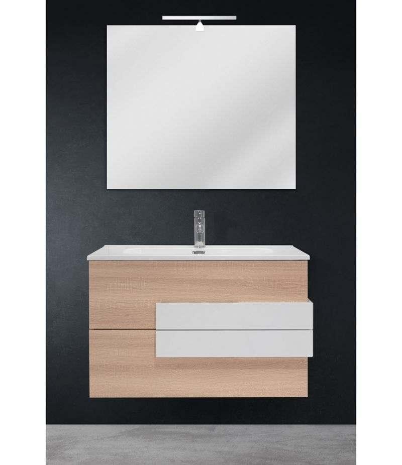 Mobile bagno sospeso 80 cm Rovere Sbiancato con specchio, LED e lavabo