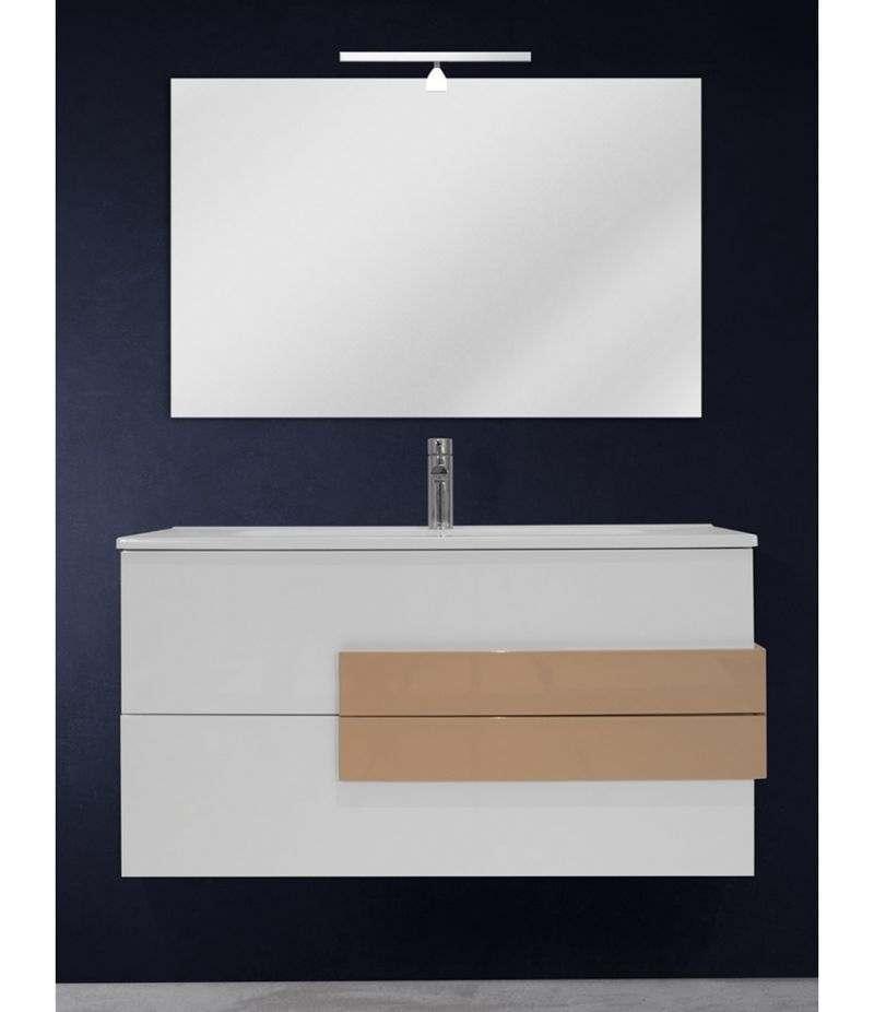 Mobile bagno sospeso 100 cm Bianco lucido con specchio, LED e lavabo