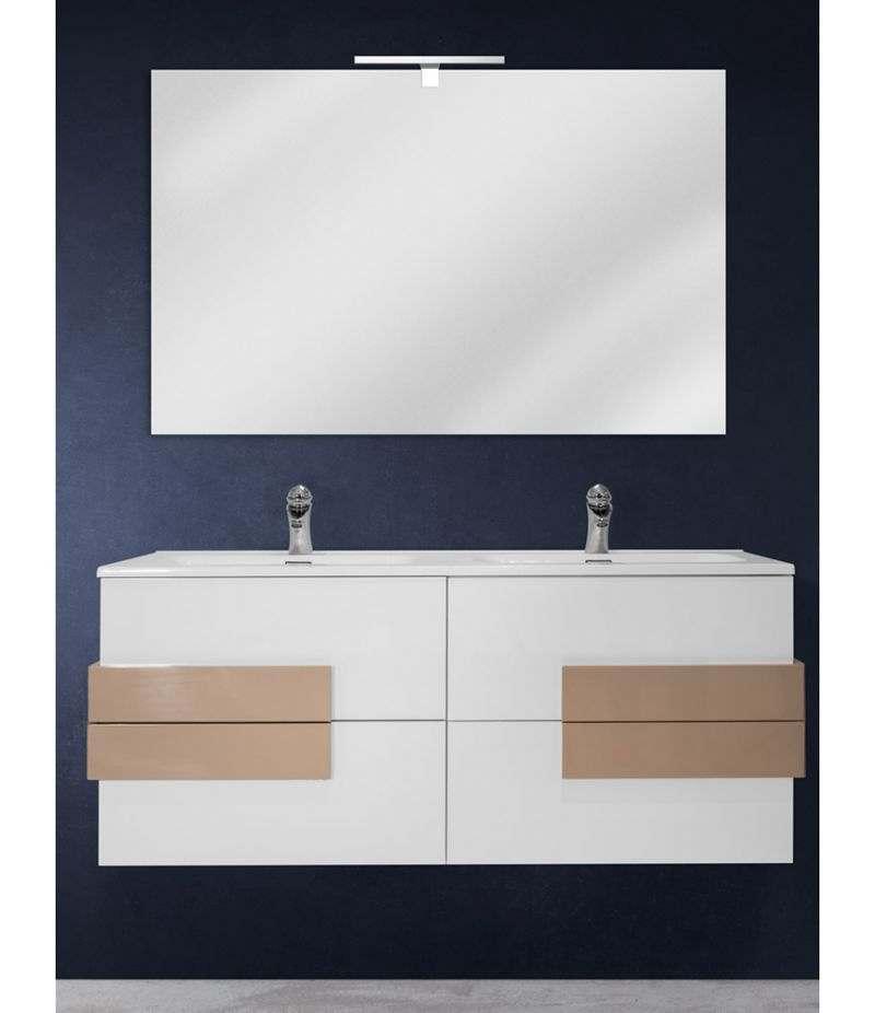 Mobile bagno sospeso 120 cm Bianco lucido con specchio, LED e lavabo