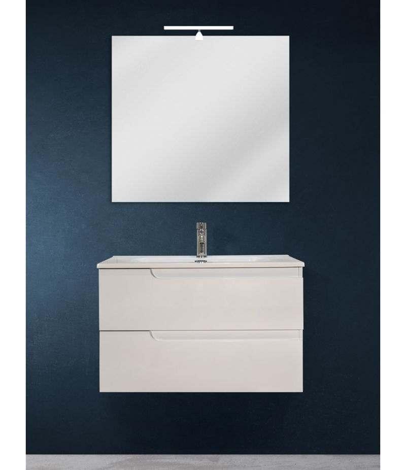 Mobile bagno sospeso 80 cm Bianco lucido con specchio, lampada LED e lavabo