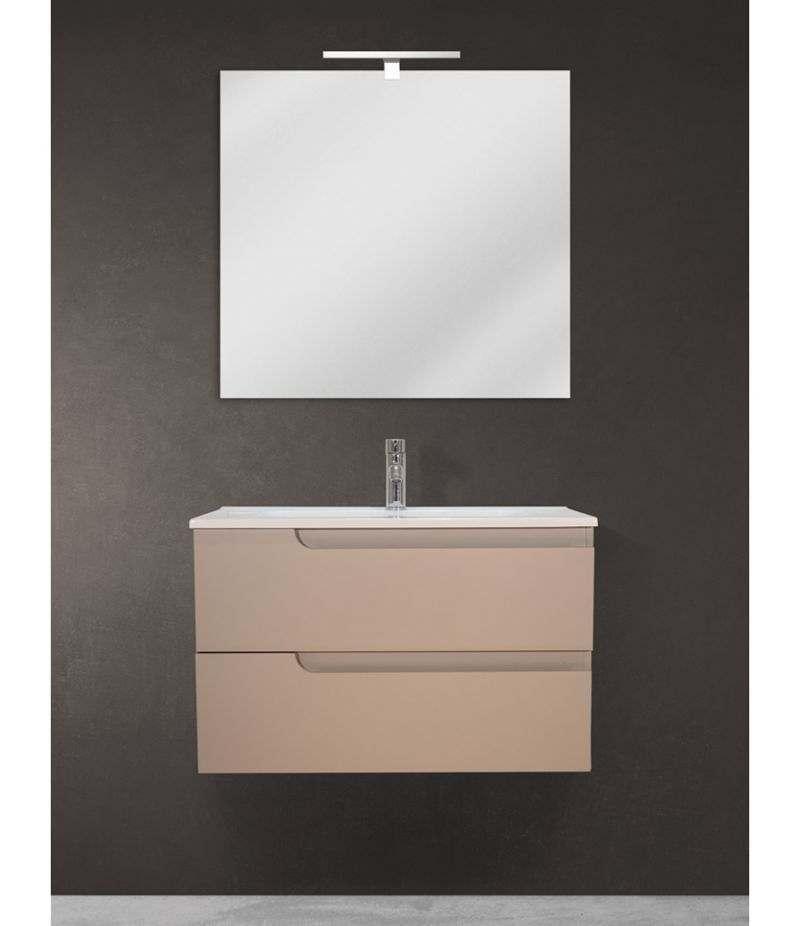 Mobile bagno sospeso 80 cm Tortora Opaco con specchio, LED e lavabo