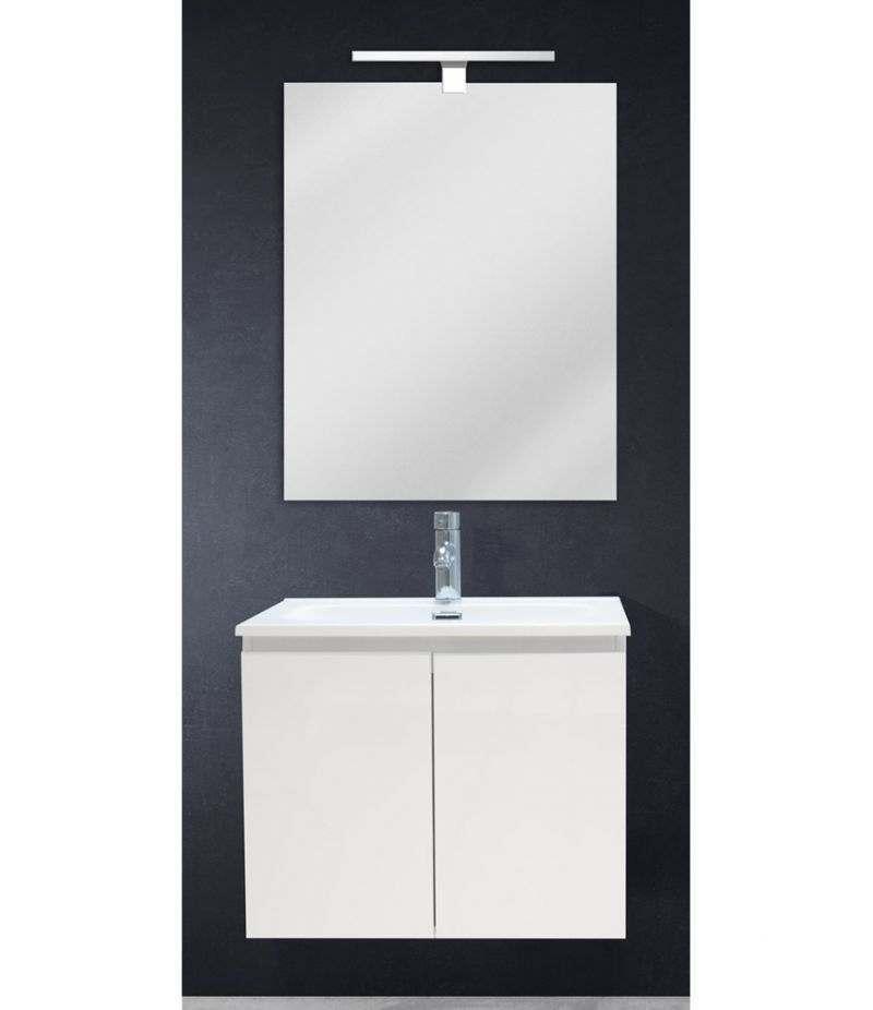 Mobile bagno sospeso 60 cm Bianco lucido con due ante, specchio, LED e lavabo
