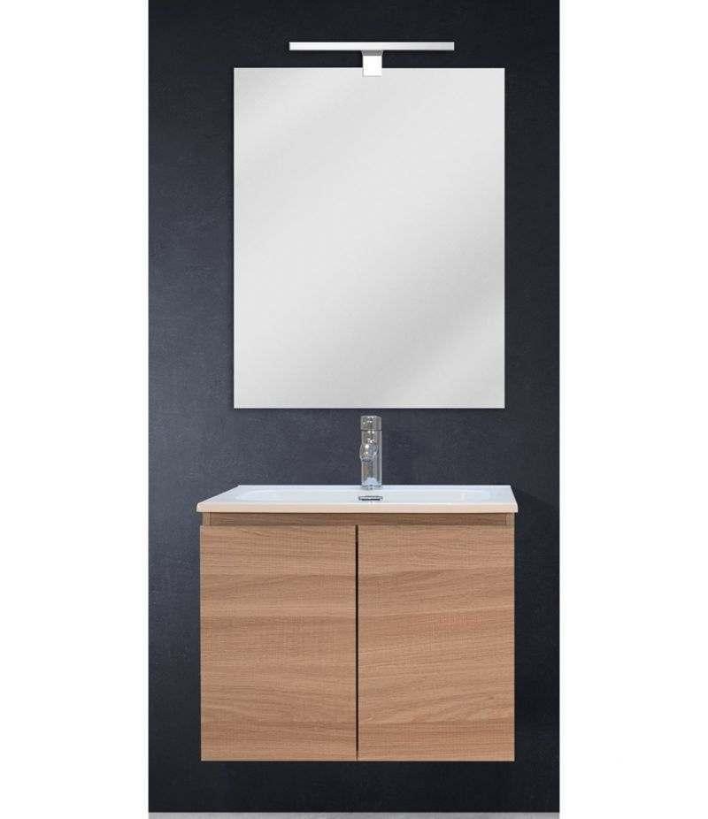 Mobile bagno sospeso 60 cm Rovere Naturale con due ante, specchio, LED e lavabo