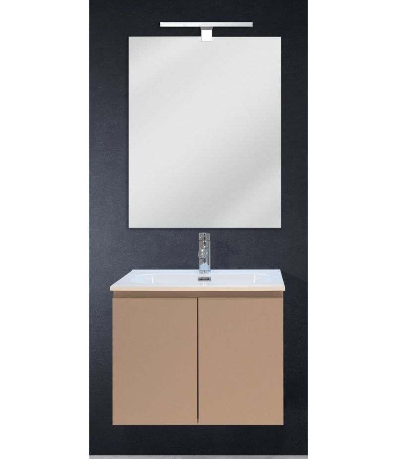 Mobile bagno sospeso 60 cm Tortora Opaco con due ante, specchio, LED e lavabo