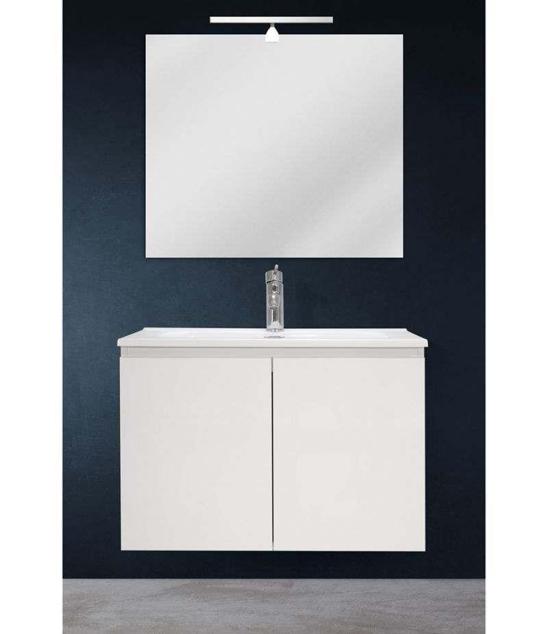 Mobile bagno sospeso 70 cm Bianco lucido con due ante, specchio, LED e lavabo