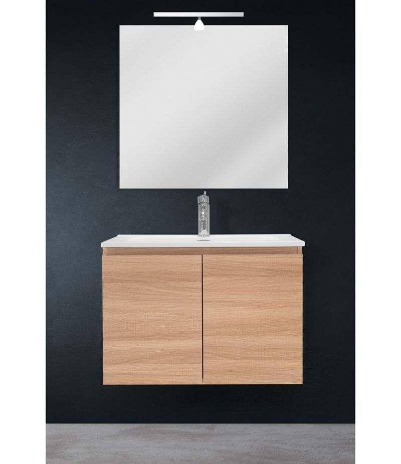 Mobile bagno sospeso 70 cm Rovere Naturale con due ante, specchio, LED e lavabo