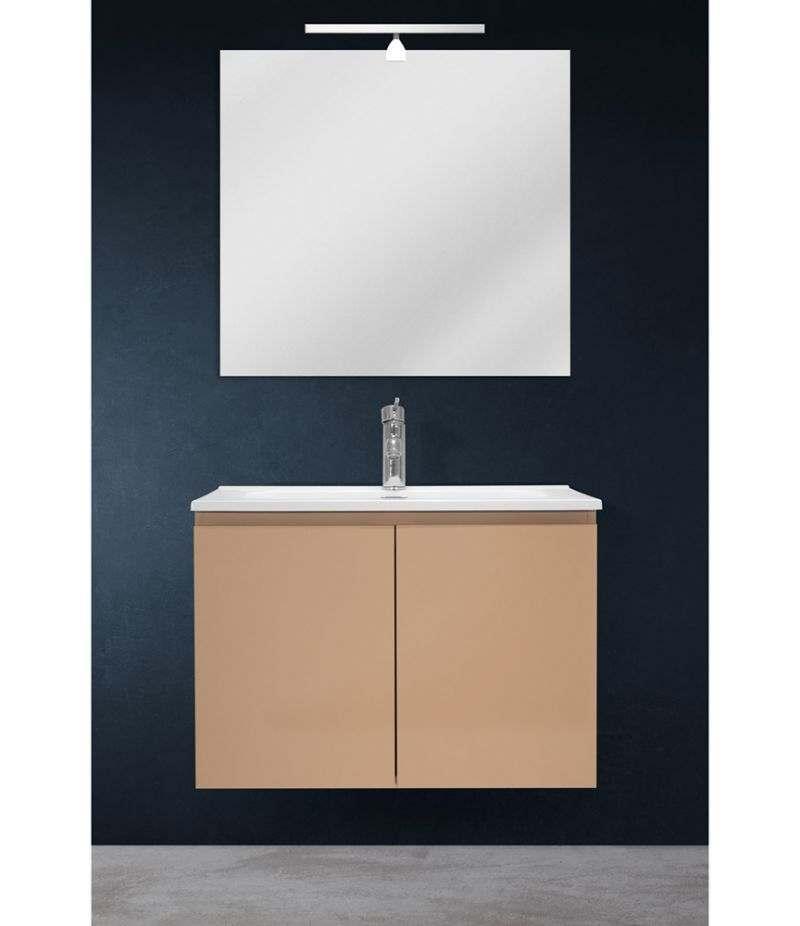 Mobile bagno sospeso 70 cm Tortora Opaco con due ante, specchio, LED e lavabo