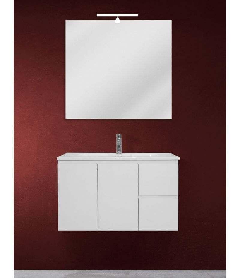 Mobile bagno sospeso 80 cm Bianco lucido con due ante, due cassetti, specchio, LED e lavabo