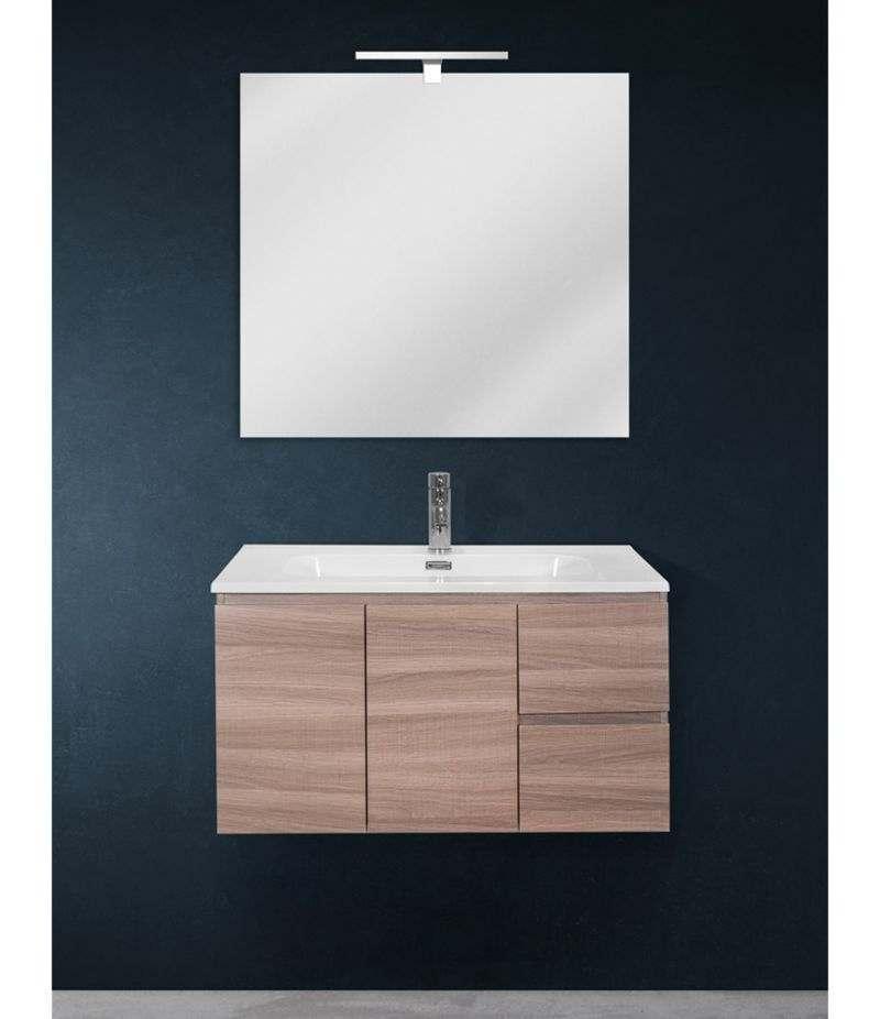 Mobile bagno sospeso 80 cm Rovere Naturale con due ante, due cassetti, specchio, LED e lavabo