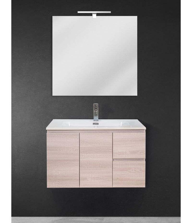 Mobile bagno sospeso 80 cm Rovere Sbiancato con due ante, due cassetti, specchio, LED e lavabo