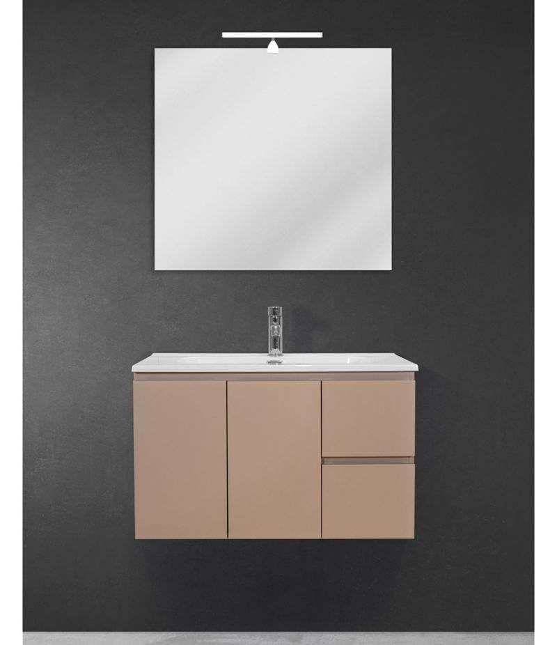 Mobile bagno sospeso 80 cm Tortora Opaco con due ante, due cassetti, specchio, LED e lavabo