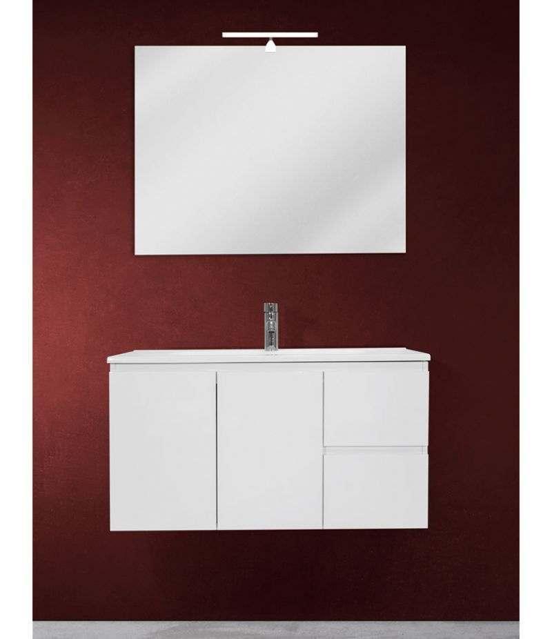 Mobile bagno sospeso 90 cm Bianco lucido con due ante, due cassetti, specchio, LED e lavabo