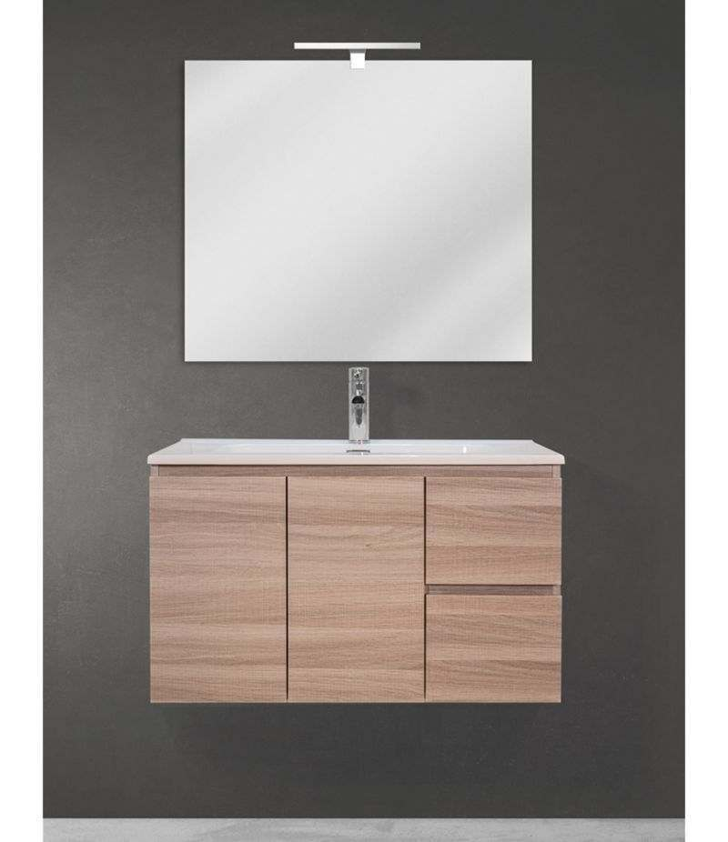 Mobile bagno sospeso 90 cm Rovere Naturale con due ante, due cassetti, specchio, LED e lavabo