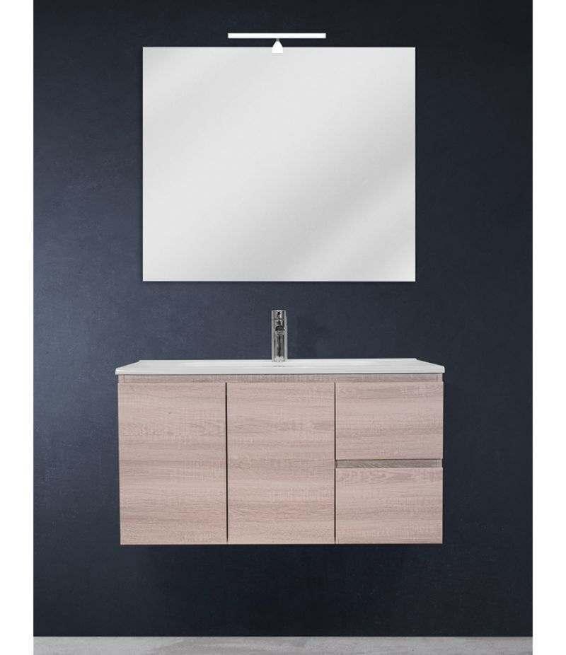 Mobile bagno sospeso 90 cm Rovere Sbiancato con due ante, due cassetti, specchio, LED e lavabo
