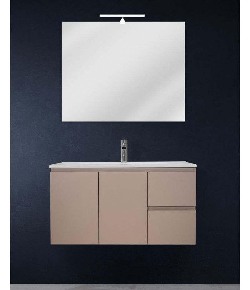Mobile bagno sospeso 90 cm Tortora Opaco con due ante, due cassetti, specchio, LED e lavabo
