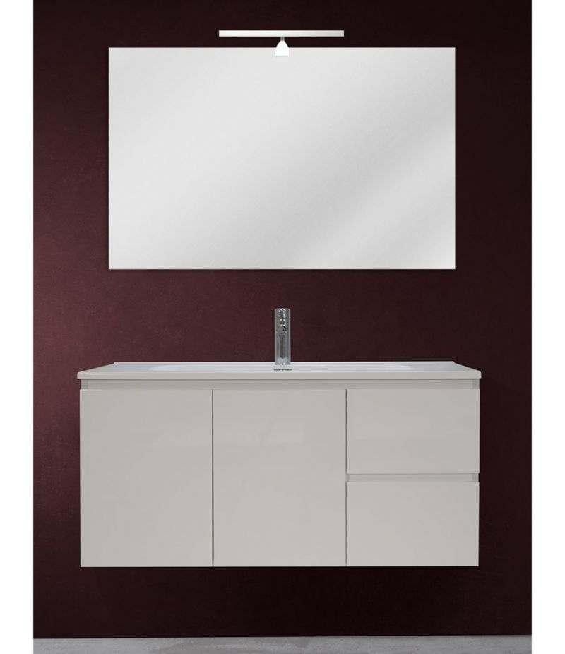 Mobile bagno sospeso 100 cm Bianco lucido con due ante, due cassetti, specchio, LED e lavabo