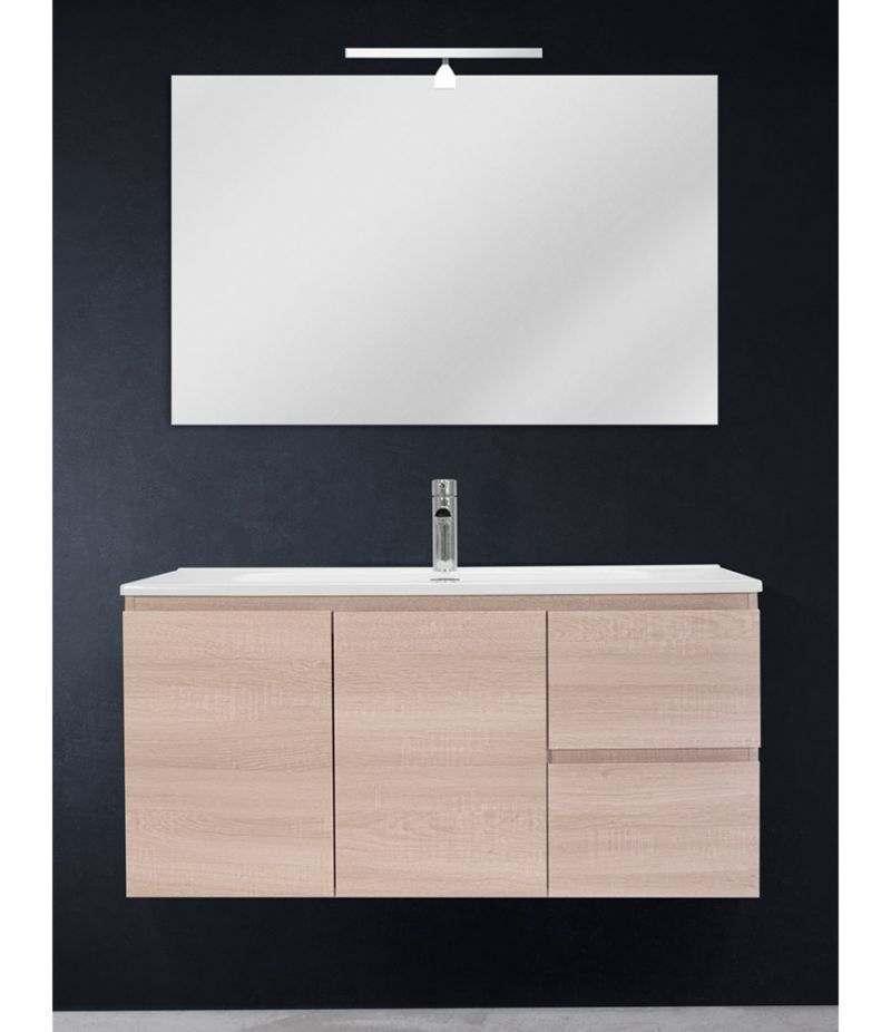 Mobile bagno sospeso 100 cm Rovere Sbiancato con due ante, due cassetti, specchio, LED e lavabo