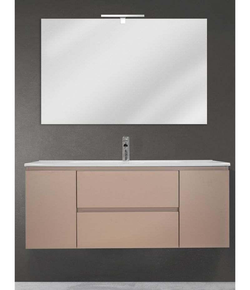 Mobile bagno sospeso 120 cm Tortora Opaco con due ante, due cassetti, specchio, LED e lavabo