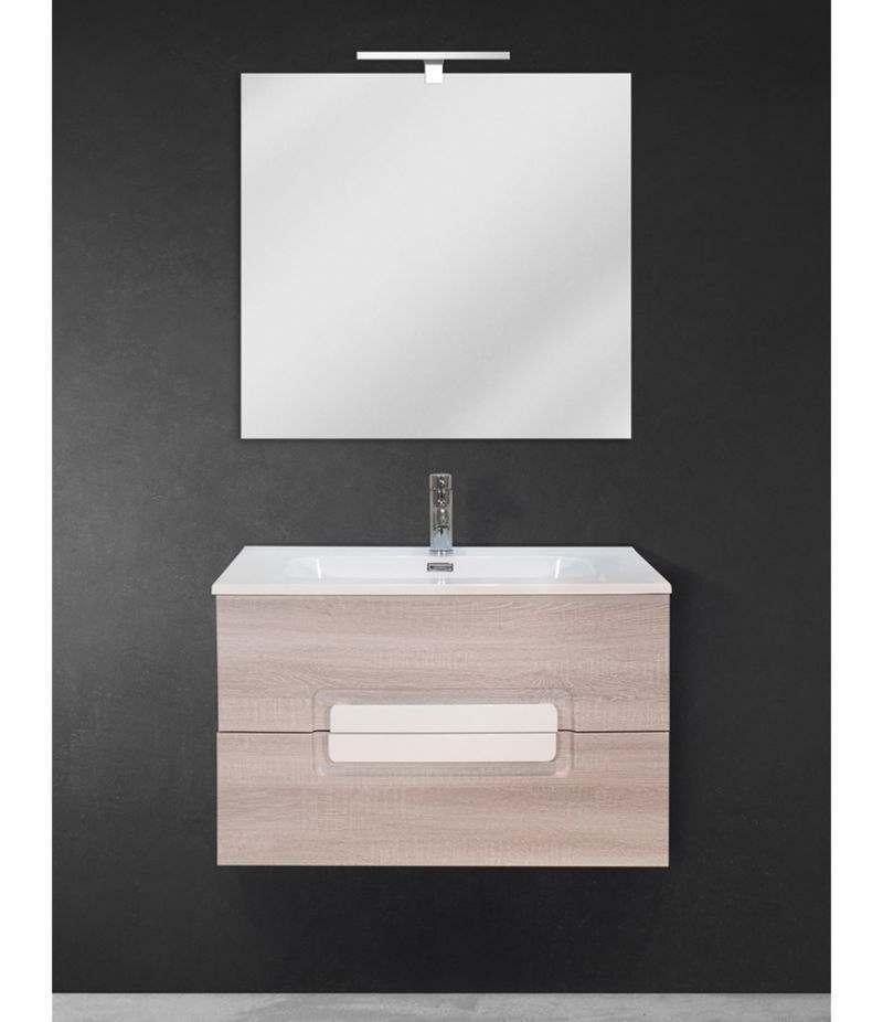 Mobile bagno sospeso 80 cm Rovere Sbiancato con lavabo, specchio e LED