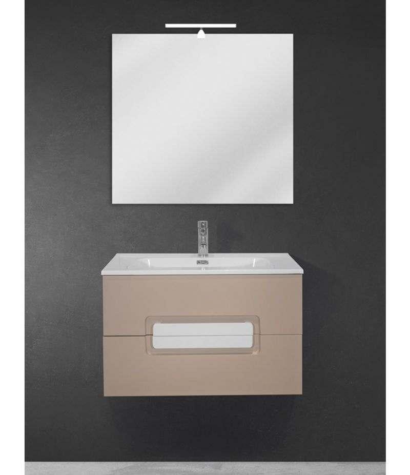 Mobile bagno sospeso 80 cm Tortora Opaco con lavabo, specchio e LED