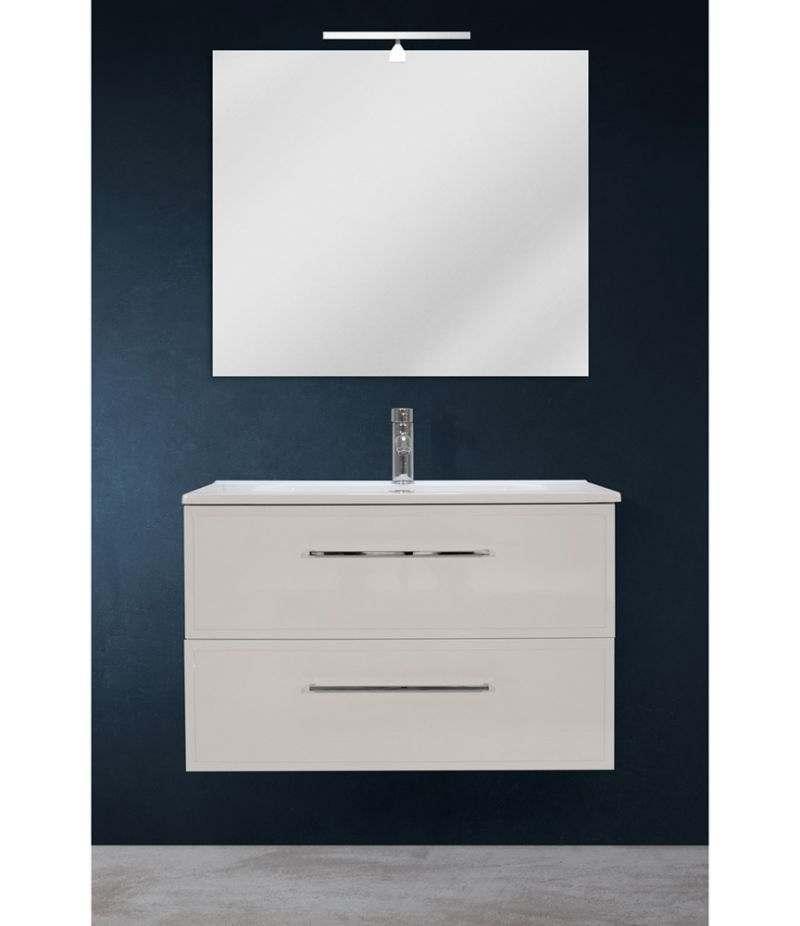 Mobile bagno sospeso 80 cm Bianco lucido con due cassetti, specchio, LED e lavabo